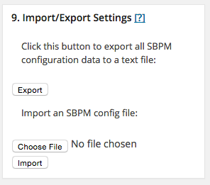sbpm import export settings
